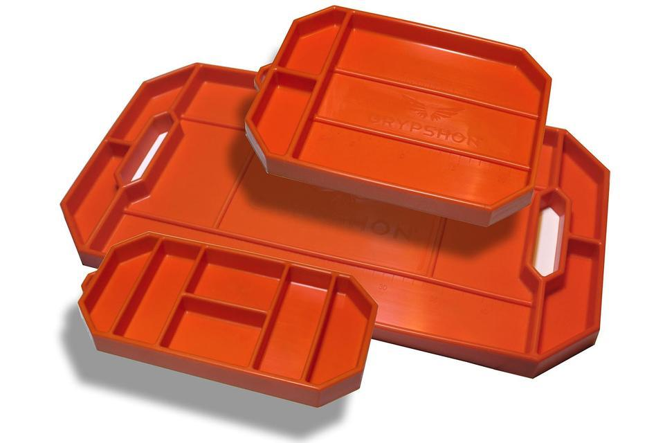 Grypmat RFGM-TP3 Tool Tray, Grypmat, Three Pack 6 x 12, 8 x 12 and 12 x 22 in, Rectangular, 1 in Thick, Chemical Resistant, Silicone, Orange, Each