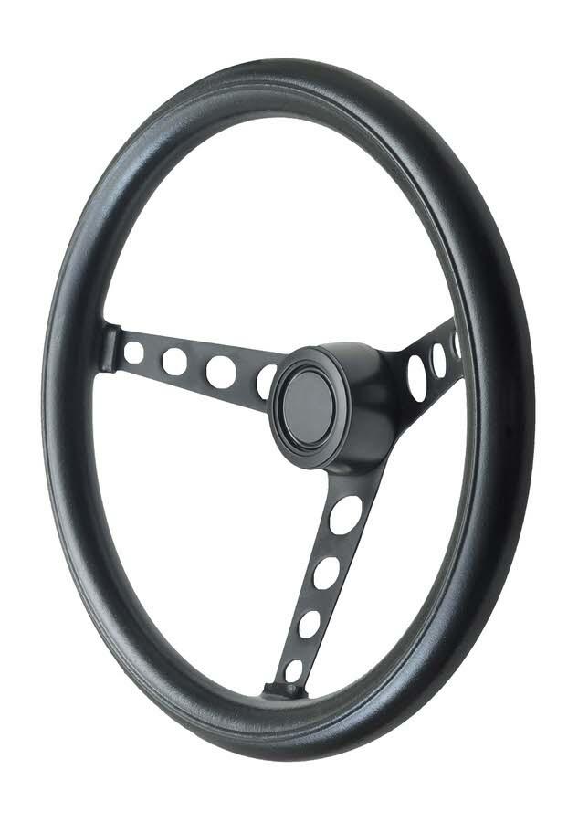 GT Performance 14-4311 Steering Wheel, GT Classic Foam, 14-1/2 in Diameter, 3 Spoke, 3-1/2 in Dish, Black Foam Grip, Steel, Black, Each