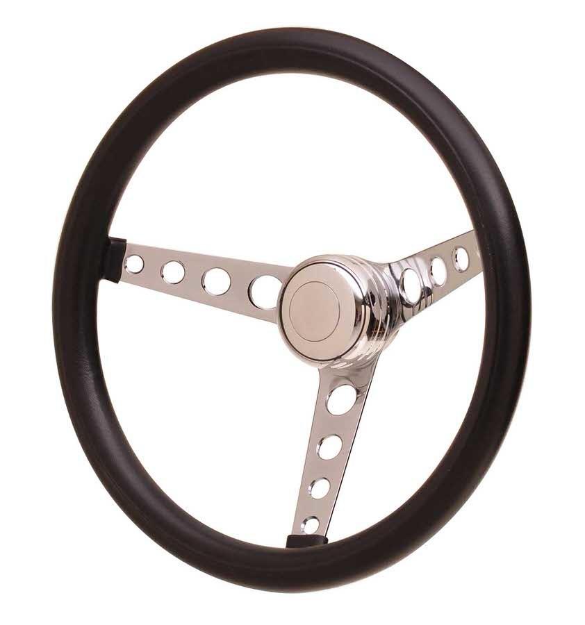 GT Performance 14-4331 Steering Wheel, GT Classic Foam, 14-1/2 in Diameter, 3 Spoke, 3-1/2 in Dish, Black Foam Grip, Steel, Chrome, Each