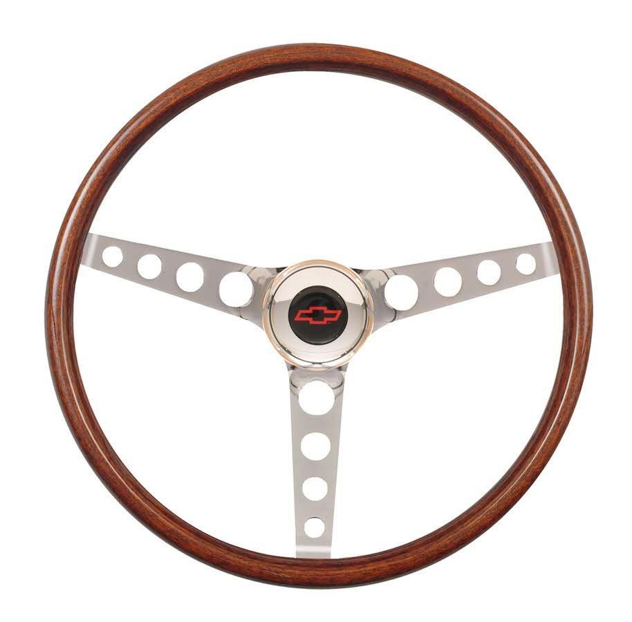 GT Performance 14-4337 Steering Wheel, GT Classic Wood, 15 in Diameter, 3 Spoke, 3-1/2 in Dish, Wood Finger Notch Grip, Steel, Chrome, Each