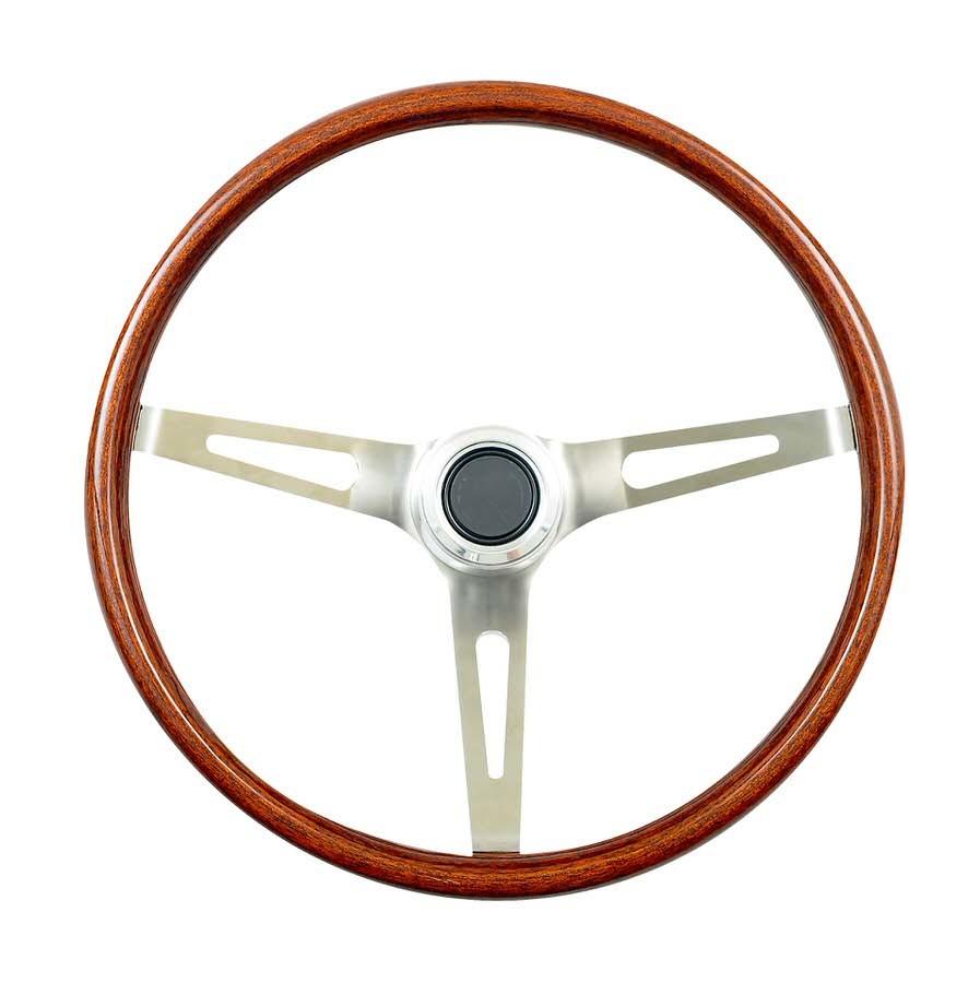 GT Performance 14-5437 Steering Wheel, GT Classic Wood, 15 in Diameter, 3 Spoke, 4 in Dish, Wood Finger Notch Grip, Steel, Chrome, Each