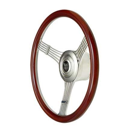 GT Performance 21-4247 Steering Wheel, GT Retro Banjo, 15-1/2 in Diameter, 3-Spoke, 1-3/4 in Dish, Wood Grip, Aluminum, Polished, Each