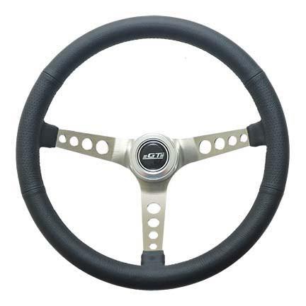 GT Performance 35-5445 Steering Wheel, Mustang, 15 in Diameter, 3-Spoke, 4-5/8 in Dish, Black Leather Grip, Aluminum, Brushed, Each