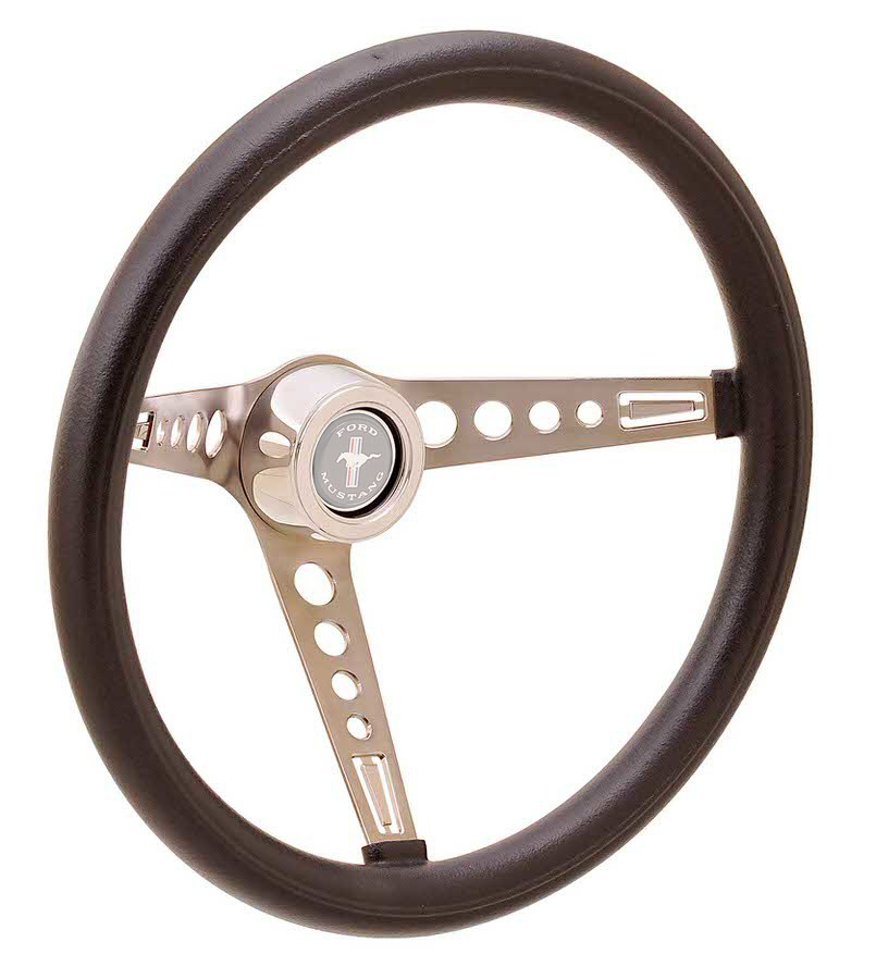 GT Performance 35-5451 Steering Wheel, Foam Mustang, 15 in Diameter, 3 Spoke, 4-1/8 in Dish, Black Foam Grip, Stainless, Polished, Each