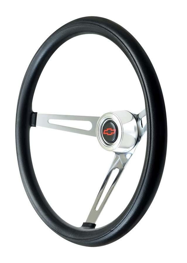 GT Performance 36-5431 Steering Wheel, GT Classic Foam, 15 in Diameter, 3 Spoke, 4-1/8 in Dish, Black Foam Grip, Steel, Chrome, Each