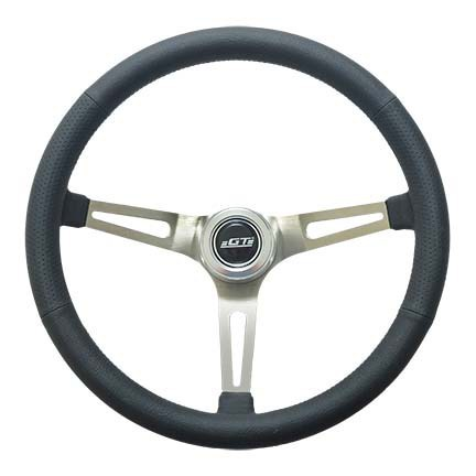 GT Performance 36-5445 Steering Wheel, GT Retro, 15 in Diameter, 3-Spoke, 4-5/8 in Dish, Black Leather Grip, Aluminum, Brushed, Each
