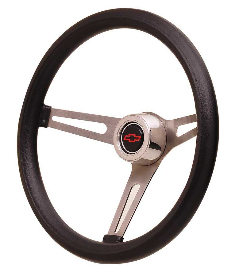 GT Performance 36-5451 Steering Wheel, GT Retro Foam, 15 in Diameter, 3 Spoke, 4-1/8 in Dish, Black Foam Grip, Stainless, Polished, Each