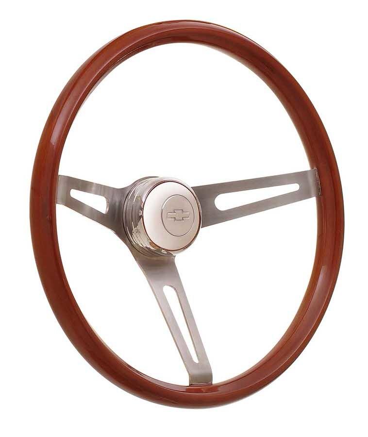 GT Performance 36-5457 Steering Wheel, GT Retro Light Wood, 15 in Diameter, 3 Spoke, 4 in Dish, Wood Finger Notch Grip, Stainless, Polished, Each