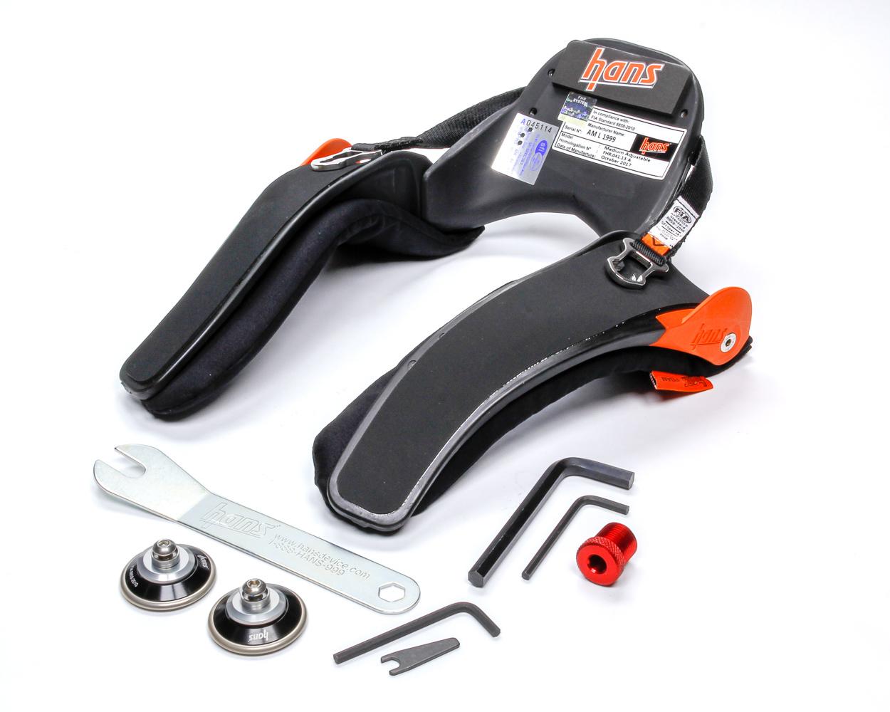 Hans DK13034.32FIA/SFI Head and Neck Support, SFI 38.1, FIA Approved, Sliding Post Tether, Adjustable 10 to 40 Degree, Helmet Anchor, Carbon Fiber, Medium, Kit