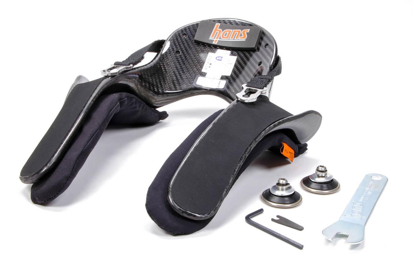 Hans DK13235.32SFI Head and Neck Support, Ultra Pro Model 20, SFI 38.1, Sliding Post Tether, Helmet Anchor, Carbon Fiber, Medium, Kit