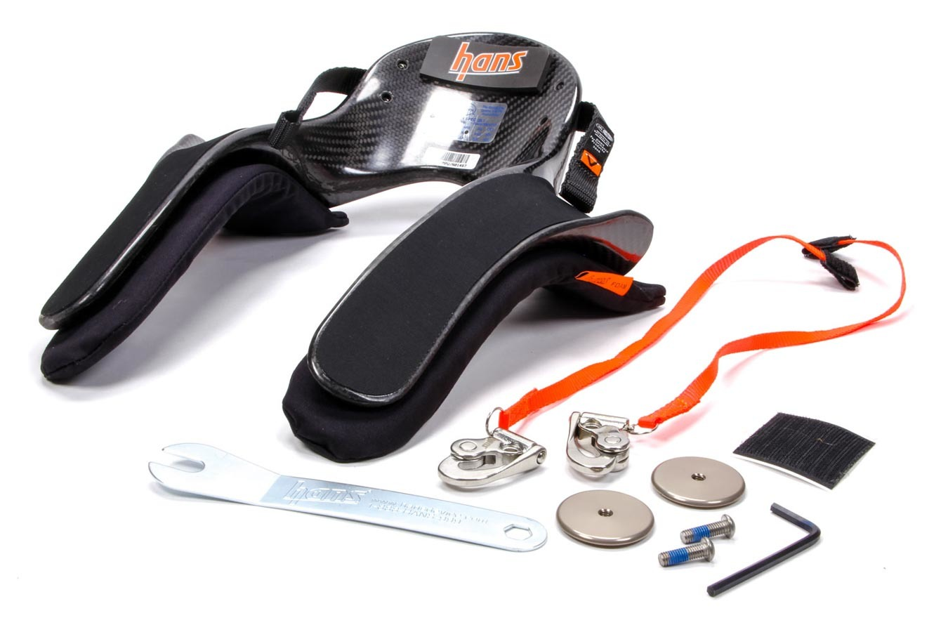 Hans DK13235.42SFI Head and Neck Support, Ultra Pro Model 20, SFI 38.1, Sliding Quick Click Tether, Helmet Anchor, Carbon Fiber, Medium, Kit