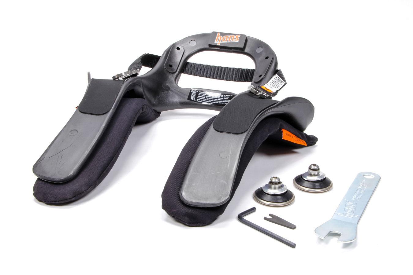 Hans DK14237.321SFI Head and Neck Support, HANS III, SFI 38.1, Sliding Post Tether, Helmet Anchor, Plastic, Medium, Kit