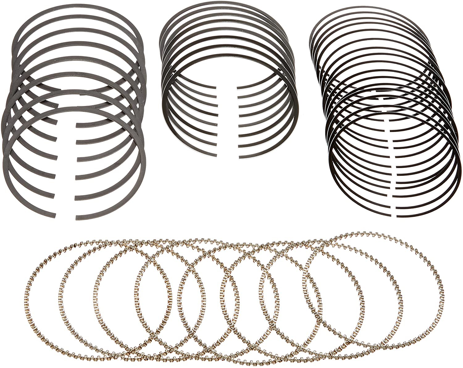 Hastings 2C4998 Piston Rings, 3.701 in Bore, 1.2 x 1.5 x 3.0 mm Thick, Standard Tension, Chrome, 8-Cylinder, Kit
