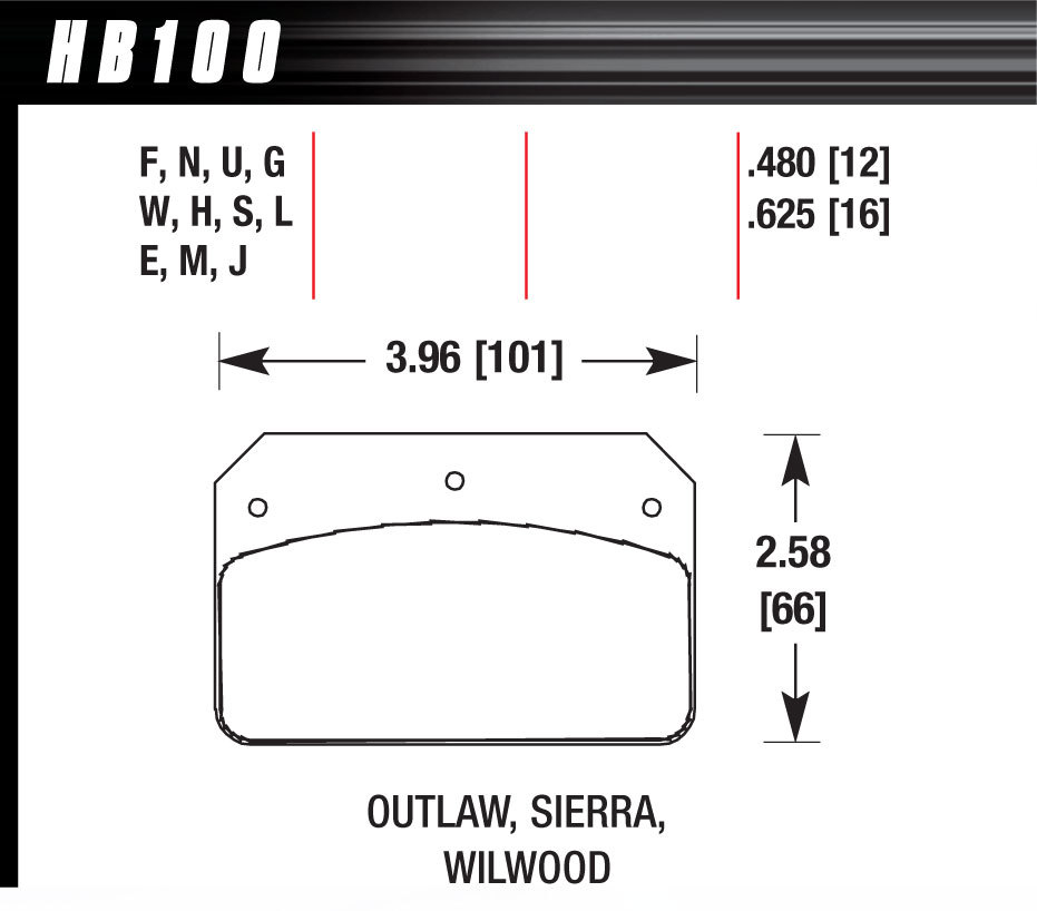 Hawk Brake HB100G480 Brake Pads, DTC-60 Compound, High Torque, High Temperature, Wilwood Dynalite Calipers, Set of 4