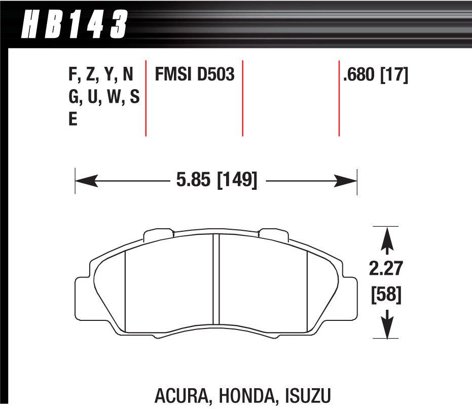 Hawk Brake HB143F680 Brake Pads, HPS Compound, High Torque, Acura / Honda / Isuzu, Set of 4