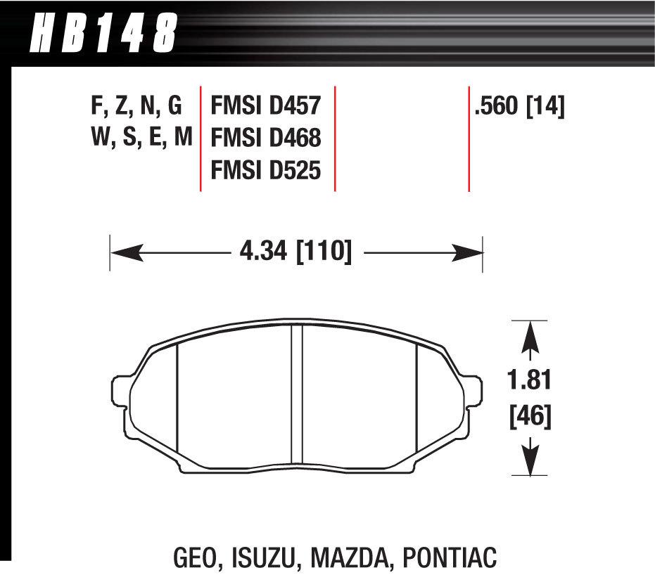 Hawk Brake HB148F560 Brake Pads, HPS Compound, High Torque, Front, Mazda / Isuzu / Geo 1990-1993, Set of 4
