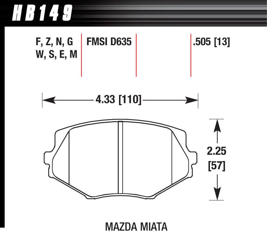 Hawk Brake HB149N505 Brake Pads, HP Plus Compound, Wide Temperature Range, Front, Mazda Miata 1994-2005, Set of 4