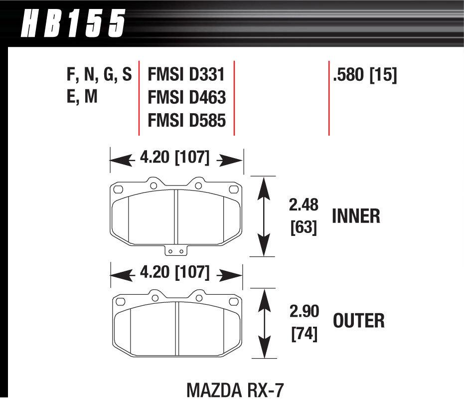 Hawk Brake HB155F580 Brake Pads, HPS Compound, High Torque, Front, Mazda RX7 1986-1995, Set of 4