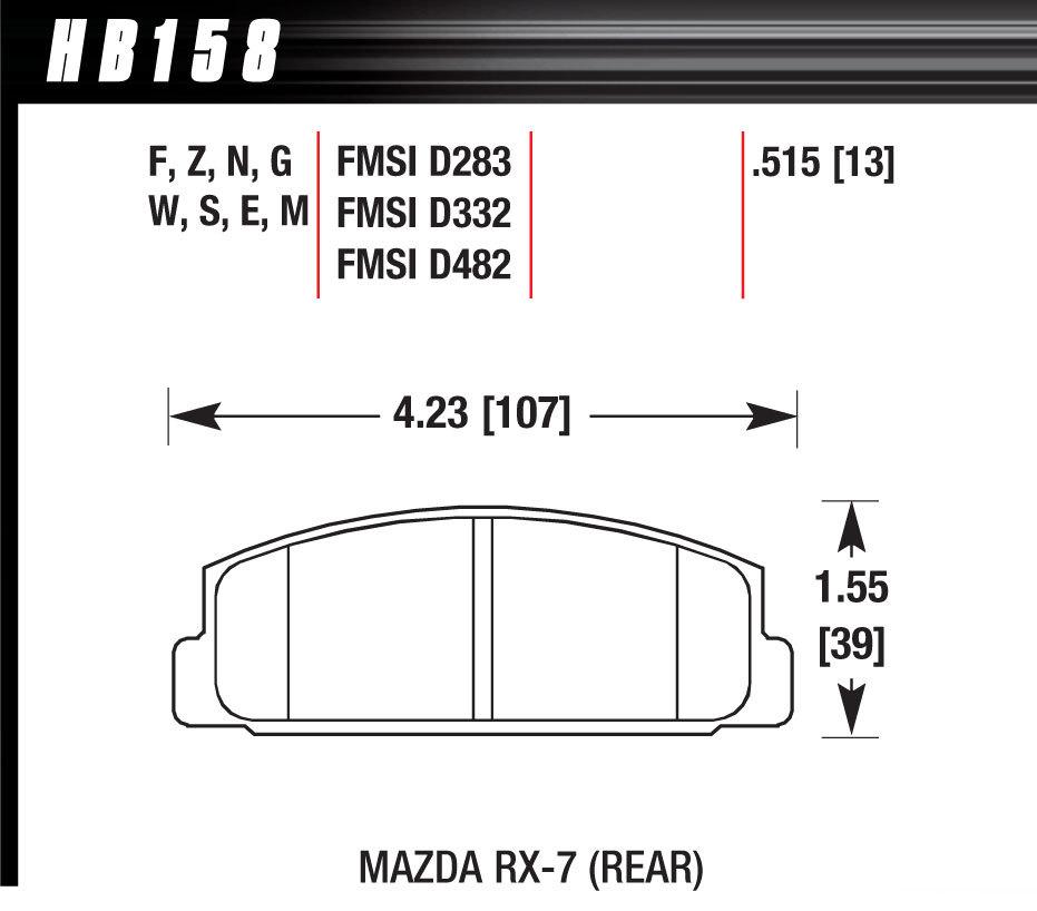 Hawk Brake HB158N515 Brake Pads, HP Plus Compound, Wide Temperature Range, Rear, Mazda 1984-2005, Set of 4