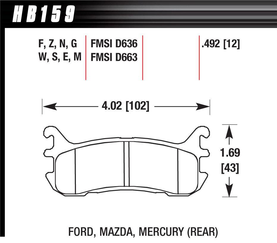 Hawk Brake HB159E492 Brake Pads, Blue 9012 Compound, Low-Intermediate Torque, Low-Mid Temperature, Rear, Mazda / Mercury / Ford / Chevrolet 1994-2005, Set of 4