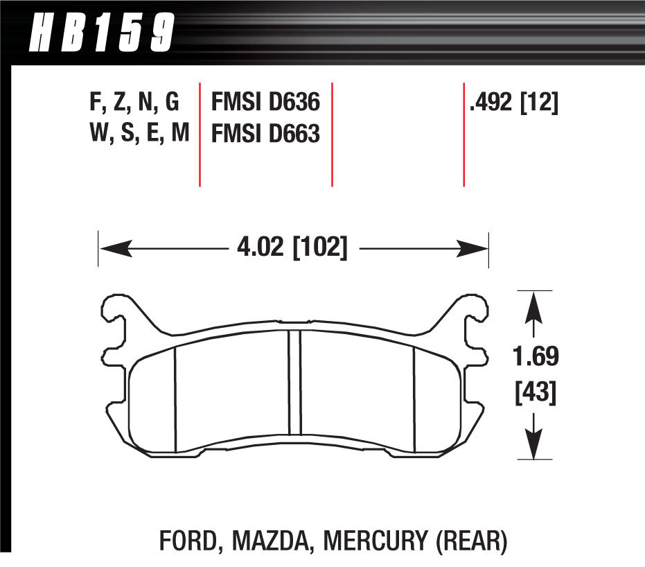 Hawk Brake HB159G492 Brake Pads, DTC-60 Compound, High Torque, High Temperature, Rear, Mazda / Mercury / Ford / Chevrolet 1994-2005, Set of 4
