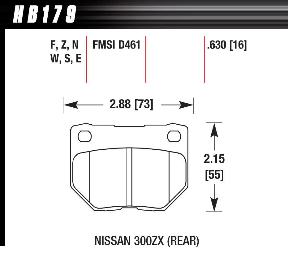 Hawk Brake HB179F630 Brake Pads, HPS Compound, High Torque, Rear, Nissan / Subaru 1989-2007, Set of 4