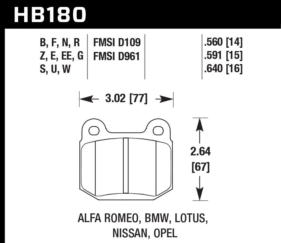 Hawk Brake HB180B.560 Brake Pads, HPS 5.0 Compound, High Torque, Rear, Various Applications, Set of 4