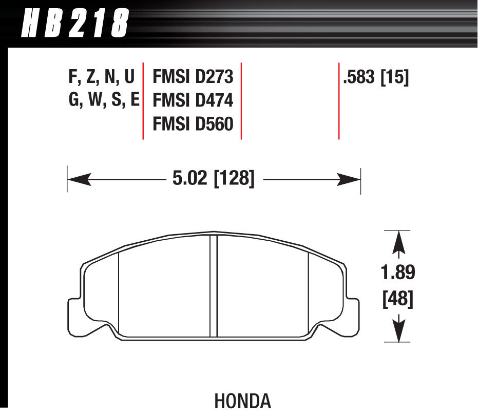 Hawk Brake HB218E583 Brake Pads, Blue 9012 Compound, Low-Intermediate Torque, Low-Mid Temperature, Honda 1984-2000, Set of 4