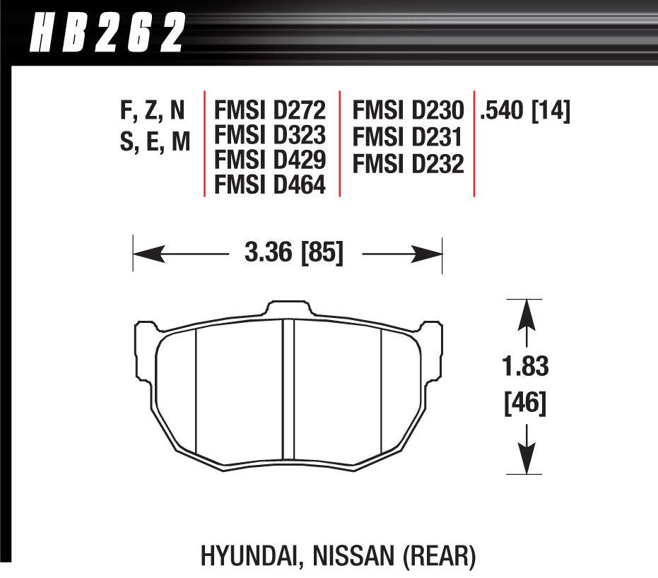 Hawk Brake HB262F540 Brake Pads, HPS Compound, High Torque, Rear, Hyundai / Honda / Nissan 1999-2004, Set of 4