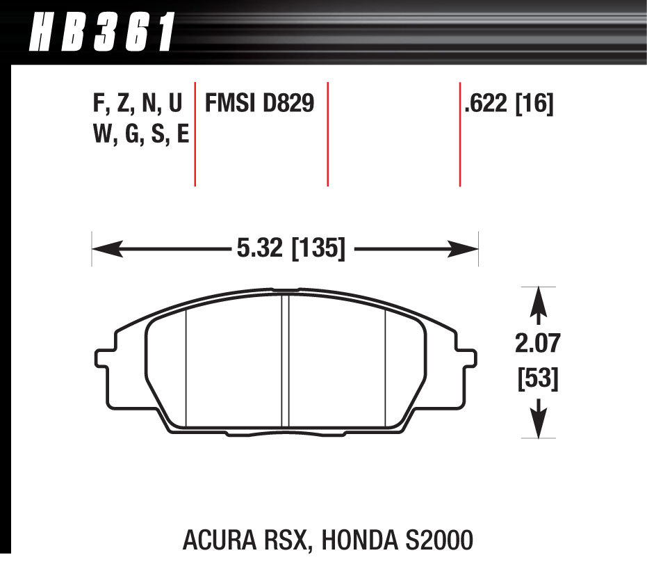 Hawk Brake HB361N622 Brake Pads, HP Plus Compound, Wide Temperature Range, Front, Acura / Nissan 1984-2008, Set of 4