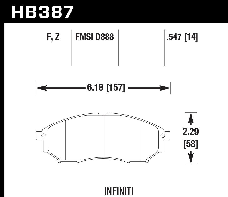 Hawk Brake HB387F.547 Brake Pads, HPS Compound, High Torque, Front, Infinity / Nissan 2005-2016, Set of 4