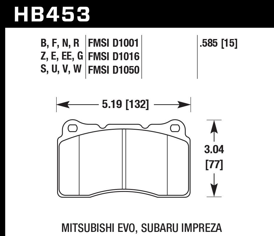 Hawk Brake HB453B.585 Brake Pads, HPS 5.0 Compound, High Torque, Front, Various Applications, Set of 4