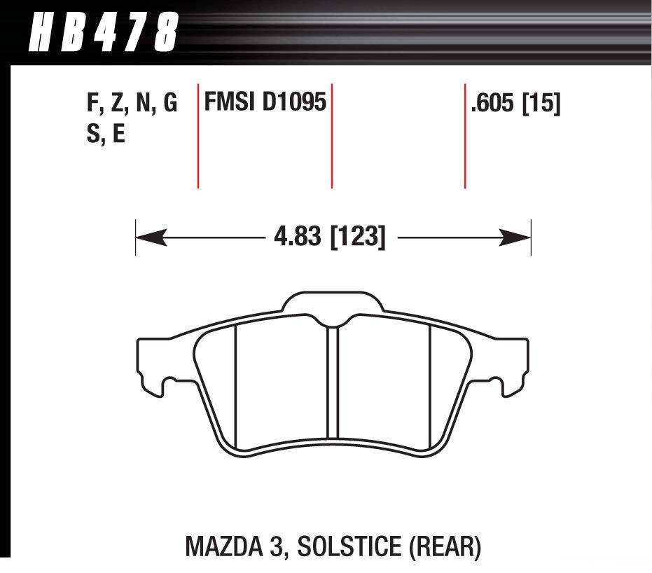 Hawk Brake HB478F605 Brake Pads, HPS Compound, High Torque, Rear, Various Applications, Set of 4