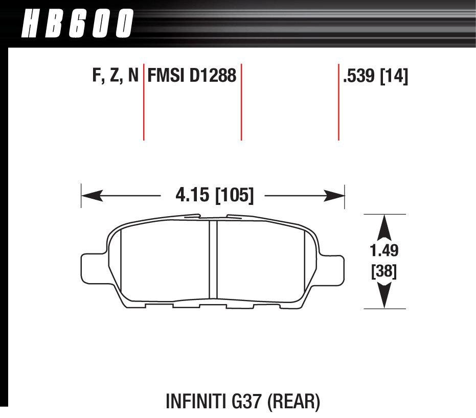 Hawk Brake HB600F539 Brake Pads, HPS Compound, High Torque, Rear, Audi / Infiniti / Nissan 2007-2016, Set of 4