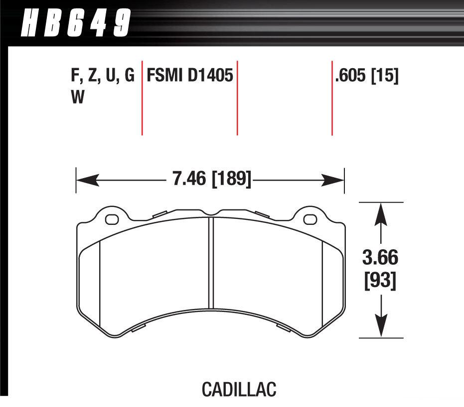Hawk Brake HB649Z605 Brake Pads, Performance Ceramic Compound, Front, GM / Mopar, Set of 4