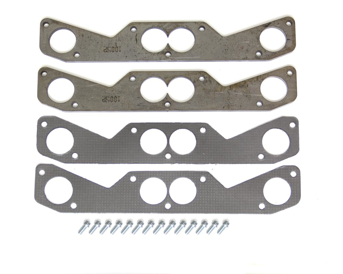 Hedman 10052 Header Flange, Hustler Race, 3/8 in Thick, 1-7/8 in Round Port, Steel, Small Block Chevy, Pair