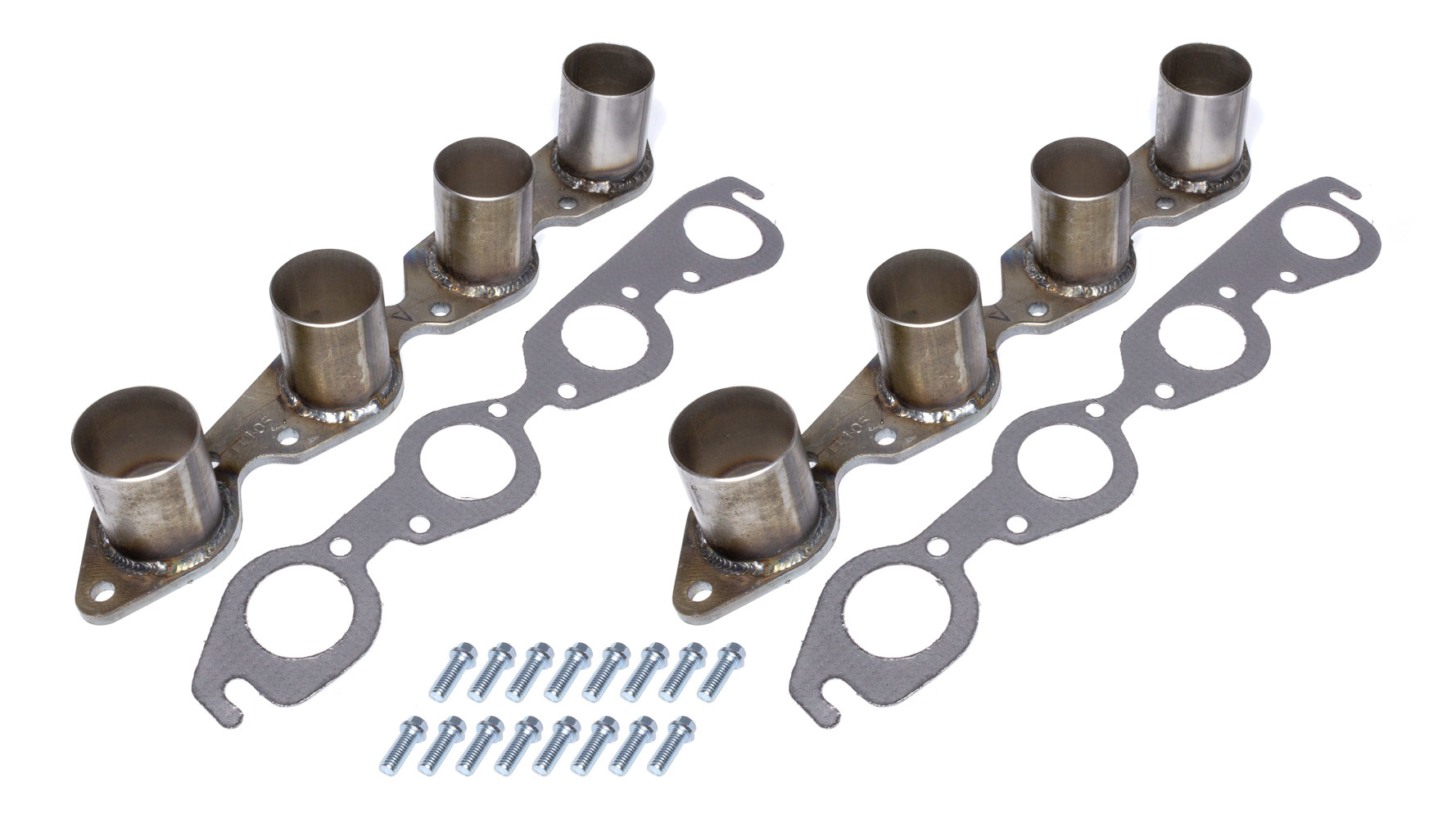 Hedman 11105 Header Flange, Hustler Race, Stubs, 3/8 in Thick, 2-1/4 in Round Port, Steel, Big Block Chevy, Pair