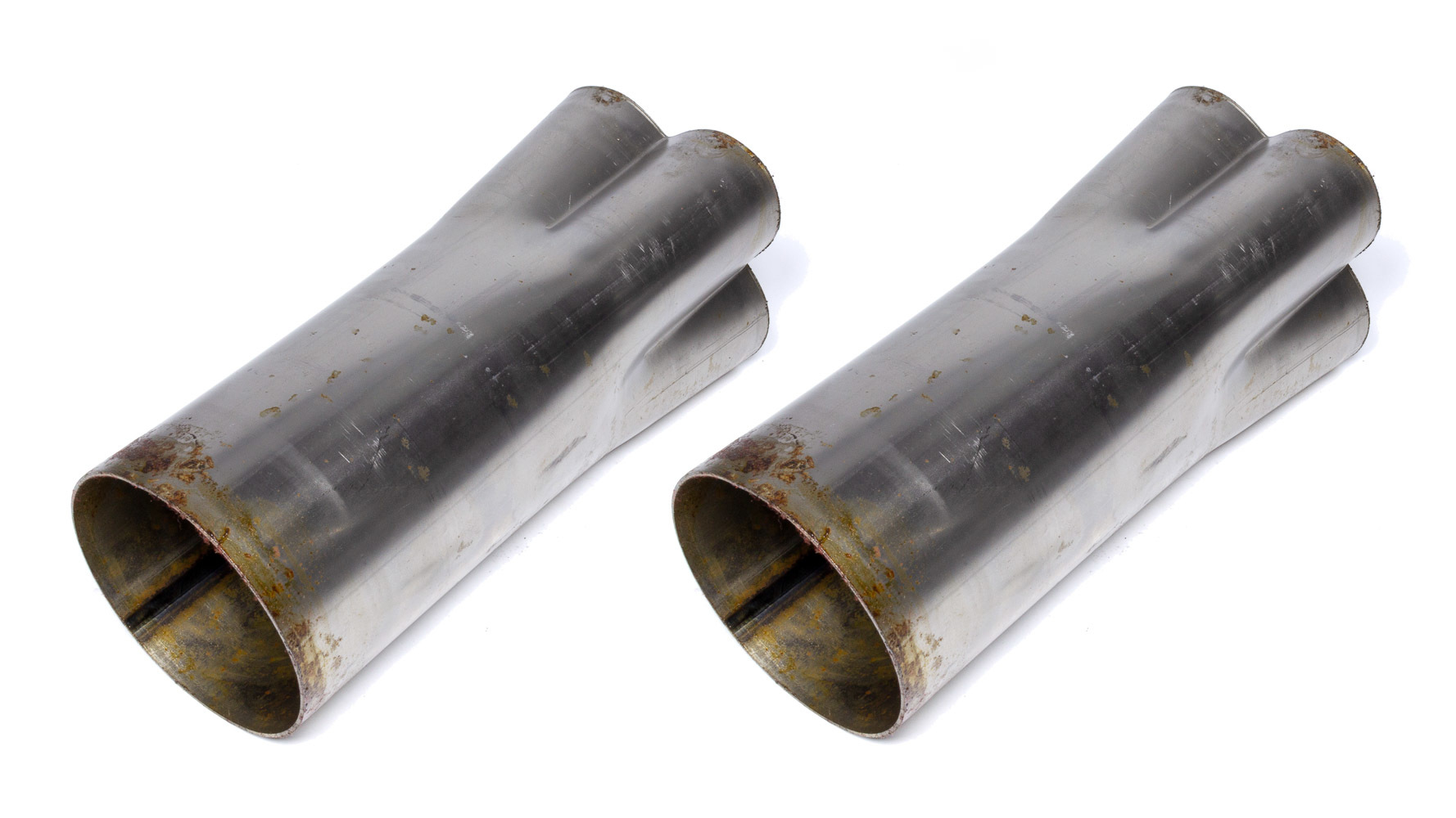 Hedman 14026 Collector, Husler, Weld-On, 4 x 2-1/2 in Primary Tubes, 5 in Outlet, 10 in Long, Steel, Natural, Pair