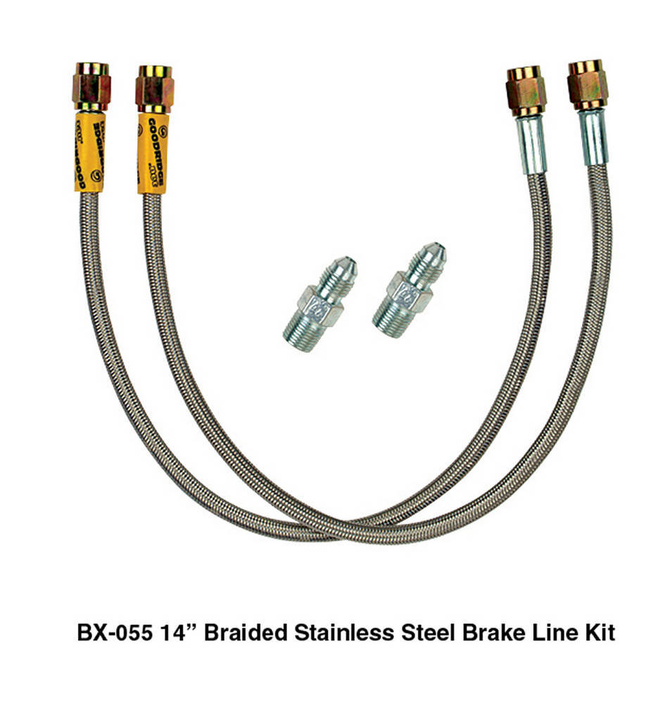 Heidts Rod Shop BX-055 Brake Hose Kit, 14 in Long, 3 AN Straight Inlet, 3 AN Straight Outlet, Fittings, Braided Stainless, Wilwood Calipers, Kit