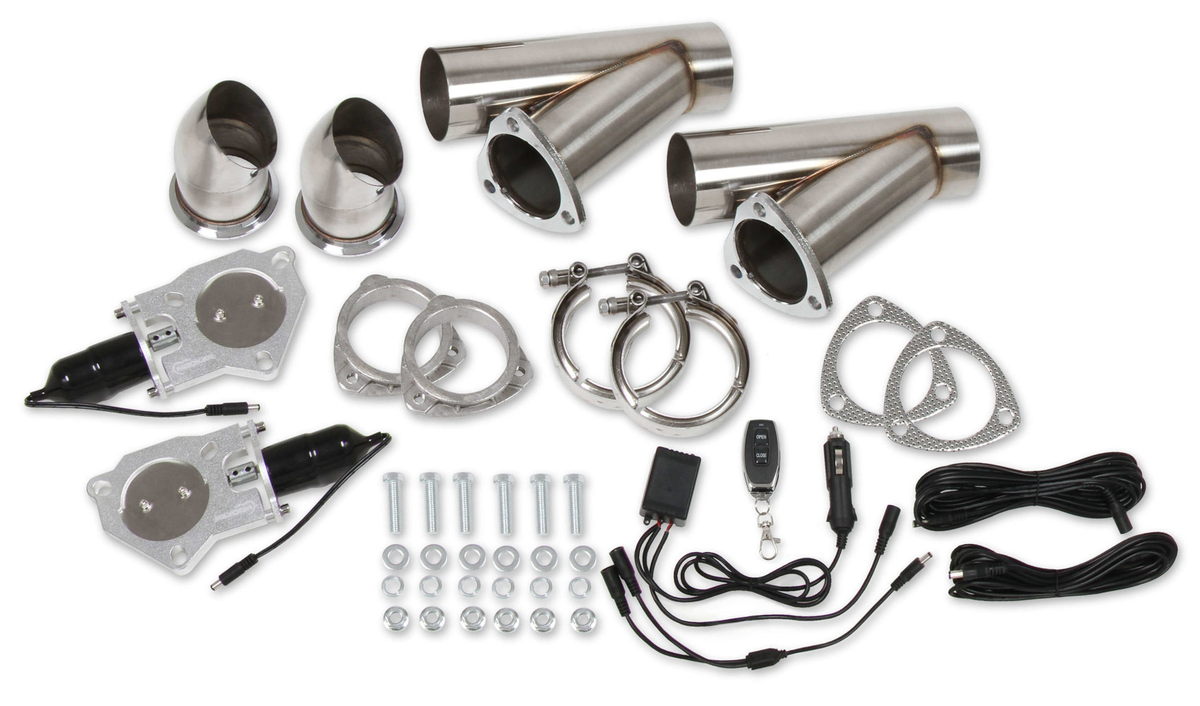 Hooker 11052 Exhaust Cut-Out, Electric, Bolt-On, Dual, 3 in Pipe Diameter, Hardware / Wire Harness Included, Aluminum, Kit