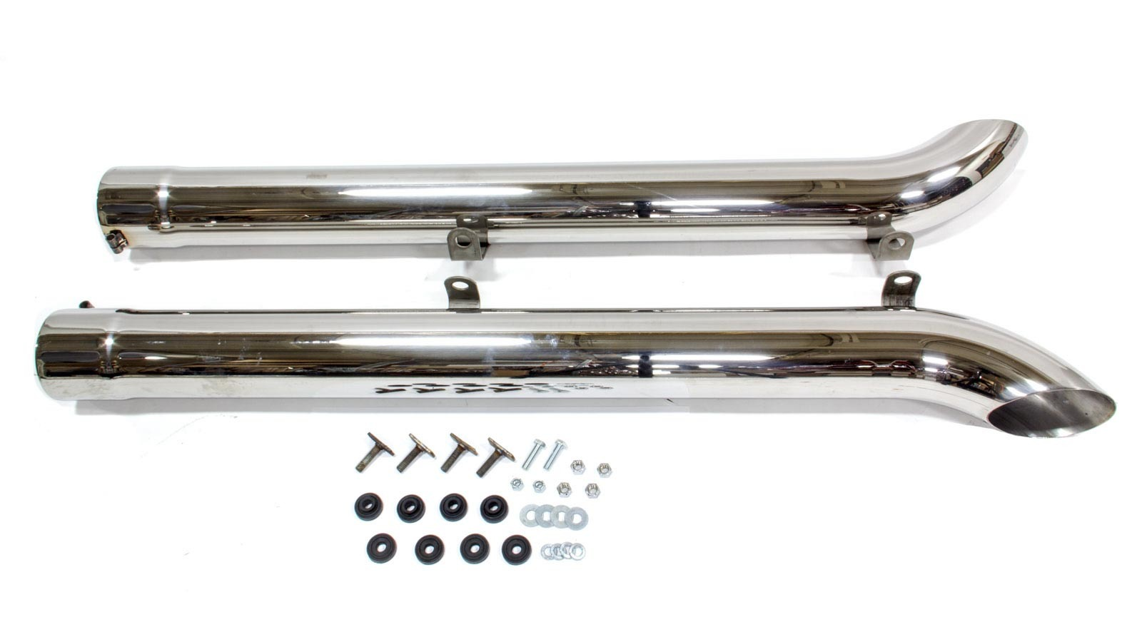 Hooker 50735-3 Exhaust Side Pipes, Super Competition, 4 in Diameter, 18 Gauge, Stainless, Polished, SideMount Headers, Pair