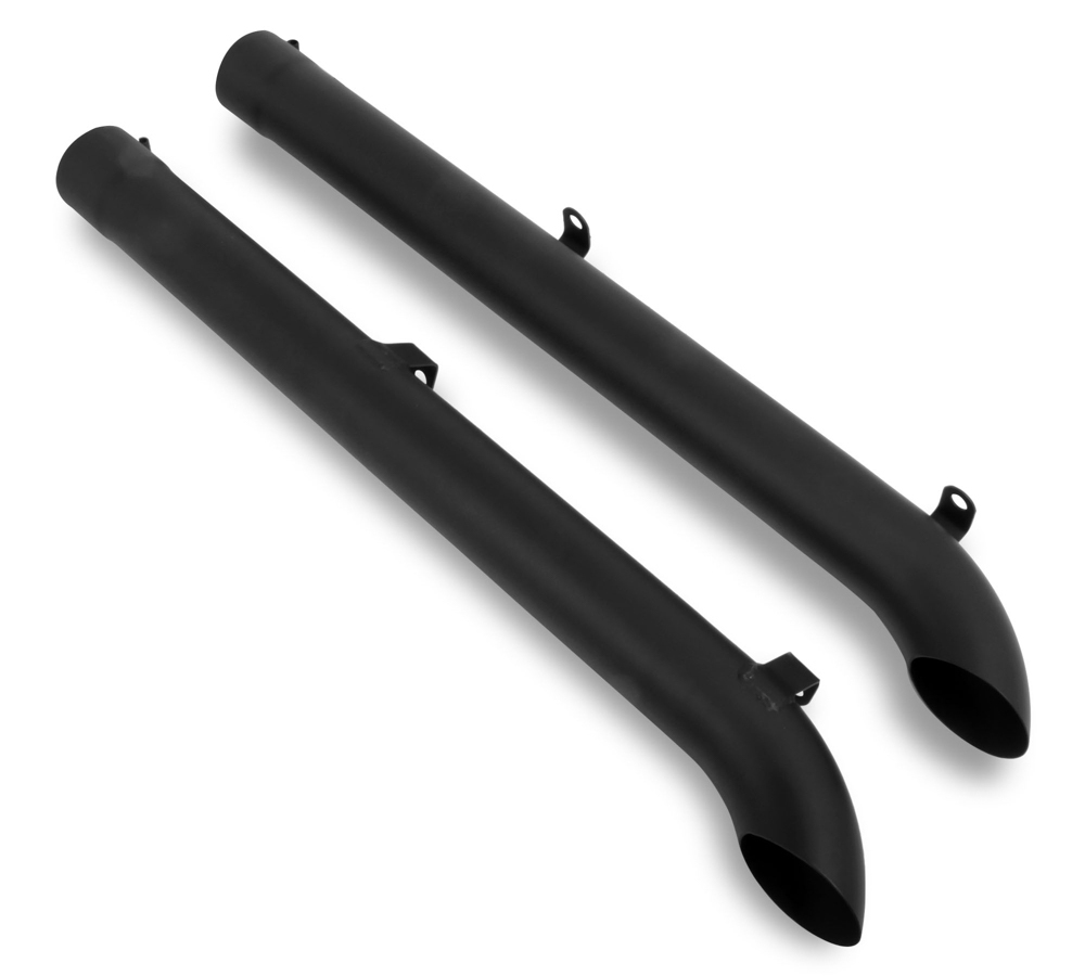 Hooker 50735 Exhaust Side Pipes, Super Competition, 4 in Diameter, 18 Gauge, Steel, Black Paint, SideMount Headers, Pair