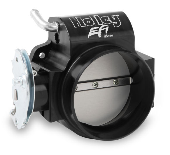 Holley 112-585 Throttle Body, Billet 95 mm Taper Bore, 4-Bolt Stock Flange, 105 mm Single Blade, Aluminum, Black Anodize, GM LS-Series, Each