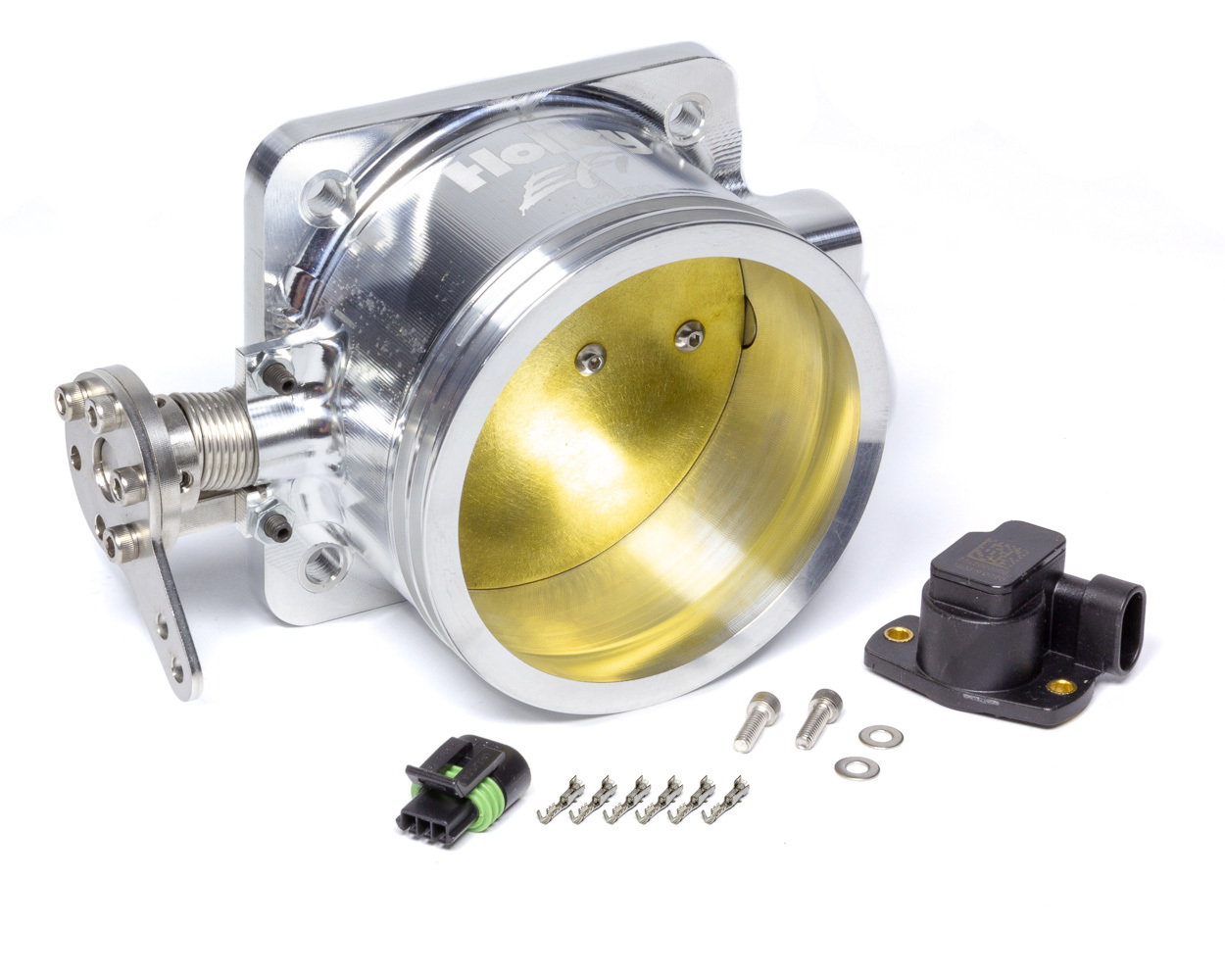 Holley 112-591 Throttle Body, EFI Mono-Blade, 4-Bolt Stock Flange, 105 mm Single Blade, Dual O-Ring, Billet Aluminum, Natural, Small Block Ford, Each