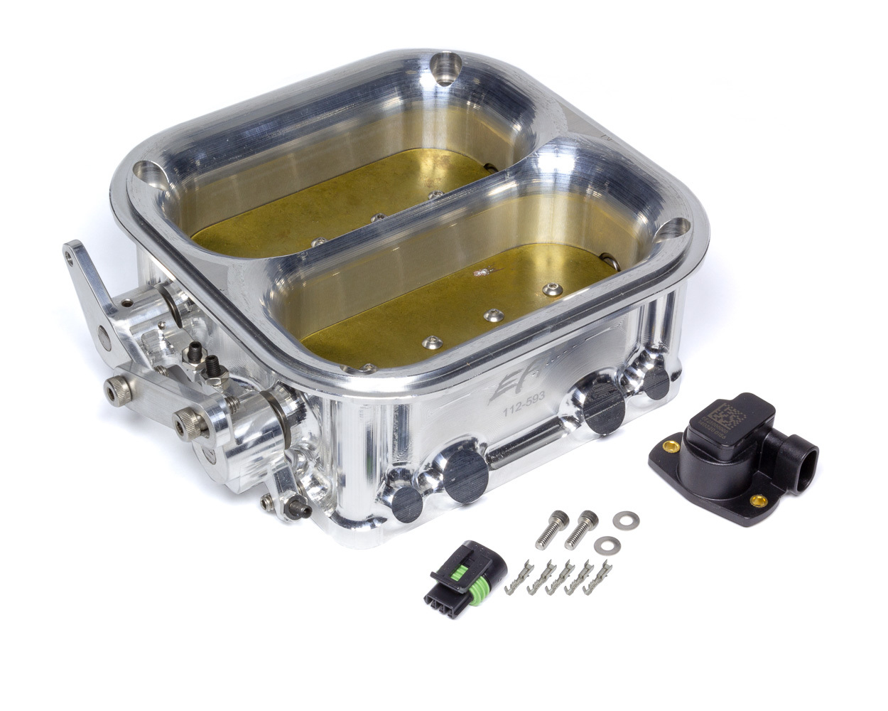 Holley 112-593 Throttle Body, Big Dual, 2550 CFM, Dominator Flange, Twin Blade, Billet Aluminum, Natural, Universal, Each