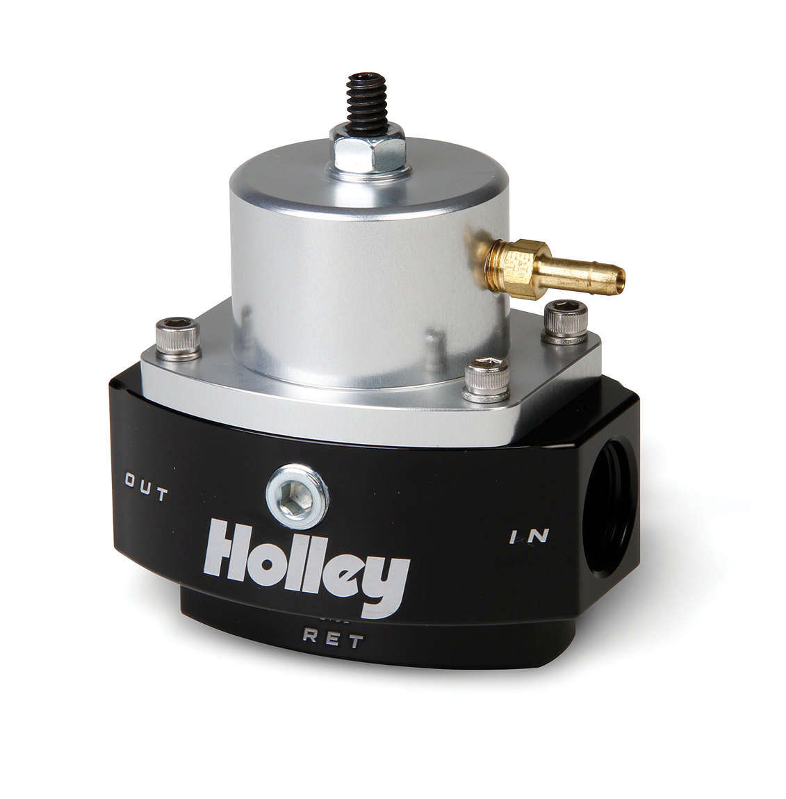 Holley 12-846 Fuel Pressure Regulator, HP Billet, 15 to 65 psi, In-Line, 8 AN Female O-Ring Inlet, 8 AN Female O-Ring Outlet, 6 AN Female O-Ring Return, 1/8 in NPT Port, Bypass, Aluminum, Black / Clear Anodized, Diesel / E85 / Gas, Each