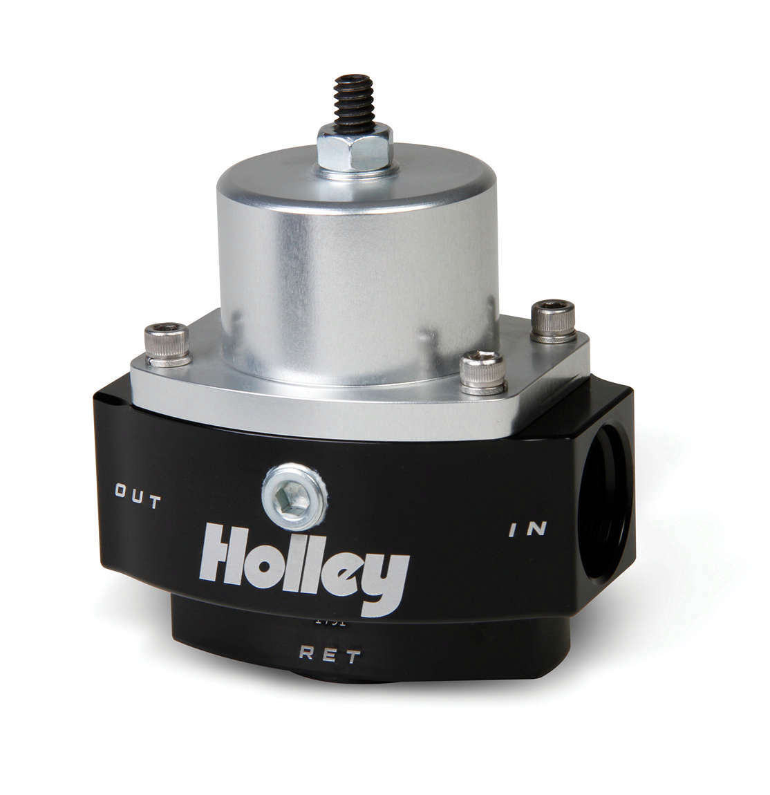 Holley 12-847 Fuel Pressure Regulator, Dominator Billet, 4.5 to 9 psi, In-Line, 10 AN Female O-Ring Inlet, 10 AN Female O-Ring Outlet, 8 AN O-Ring Return, 1/8 in NPT Port, Bypass, Aluminum, Black / Clear Anodized, Diesel / E85 / Gas, Each