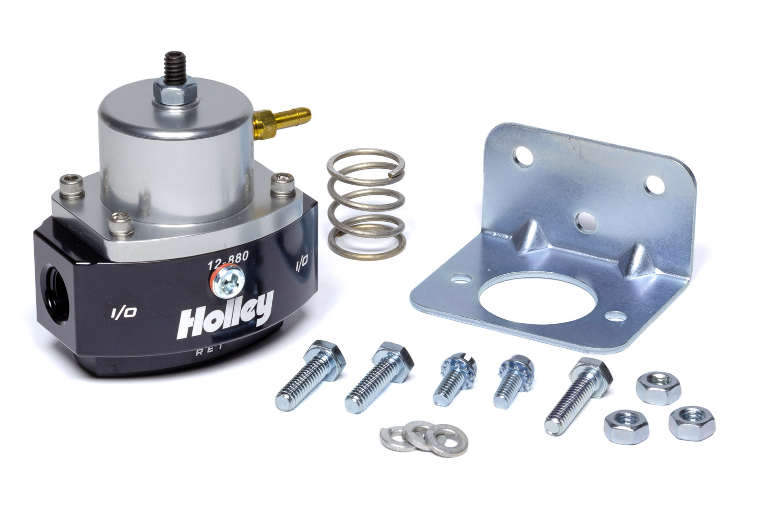 Holley 12-880 Fuel Pressure Regulator, HP Billet, 4 to 65 psi, In-Line, 6 AN Female O-Ring Inlet, 6 AN Female O-Ring Outlet, 6 AN Female O-Ring Return, 1/8 in NPT Port, Bypass, Aluminum, Black / Clear Anodized, Diesel / E85 / Gas, Each