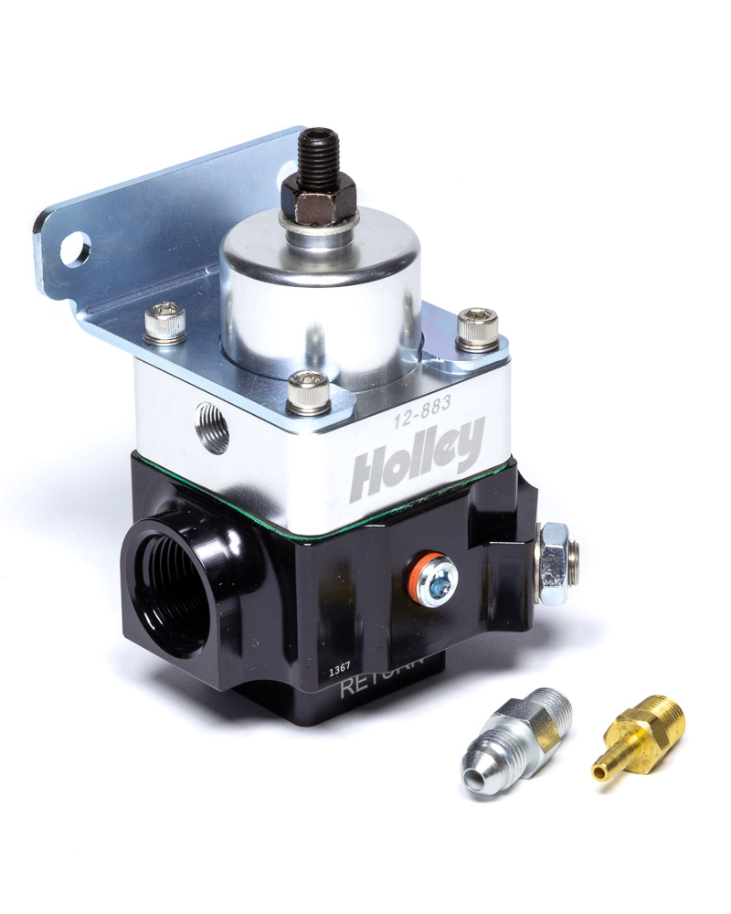 Holley 12-883 Fuel Pressure Regulator, 4-9 psi, In-Line, 10 AN Female O-Ring Inlet, 10 AN Female O-Ring Outlet, 10 AN Female O-Ring Return, 2 Port, Double Adjustable, Aluminum, Black Anodize, E85 / Gas / Methanol, Each