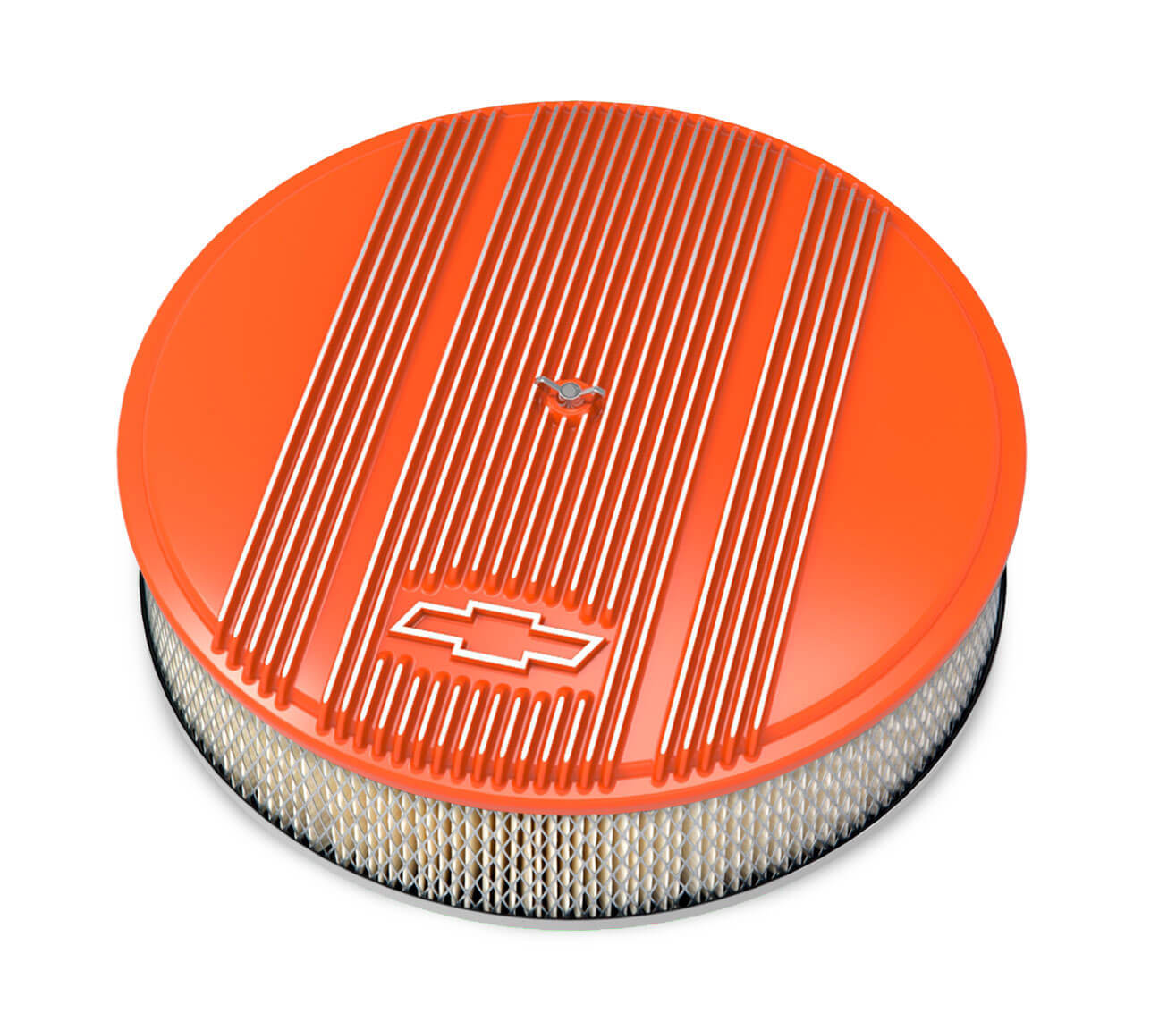 Holley 14 x 3 Air Cleaner Finned Bowtie Orange